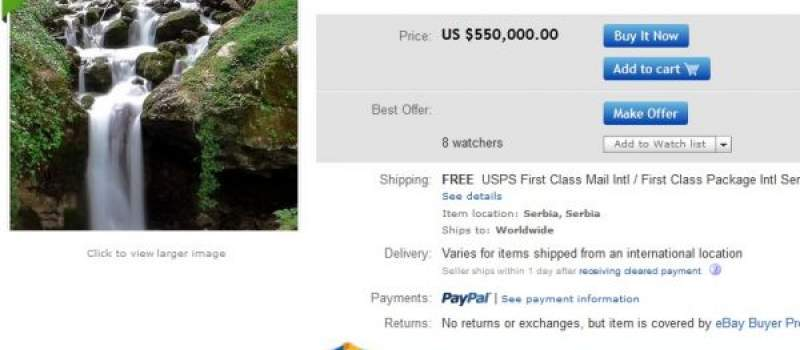 Srbin na eBay-u prodaje izvor za 550.000 dolara
