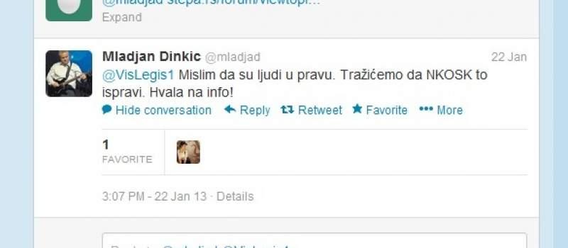 Stepa: Dinkić našao problem na Tviteru i rešio ga